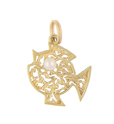 Vintage Filigree Fish Charm Set With Pearl in 14 Karat Yellow Gold