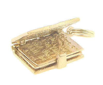 Moveable Opening Bible Charm in 14 Karat Yellow Gold - Item: C535 - Image: 2