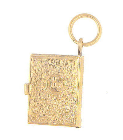 Moveable Opening Bible Charm in 14 Karat Yellow Gold - Item: C535 - Image: 1