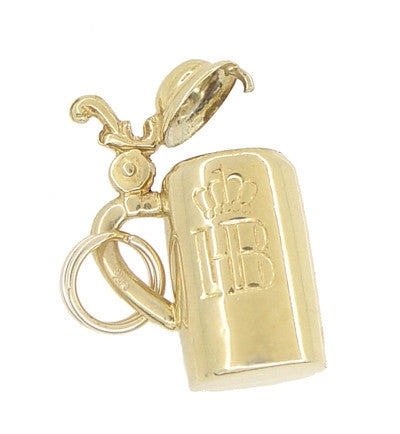 Vintage Moveable HB Munchen Beer Stein Charm in 14 Karat Yellow Gold - Item: C544 - Image: 1
