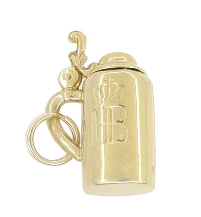 Vintage Moveable HB Munchen Beer Stein Charm in 14 Karat Yellow Gold