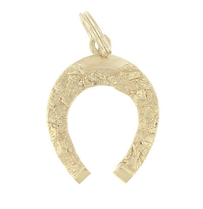Vintage Alaska Gold Nugget Horseshoe Charm in 10 Karat Yellow Gold