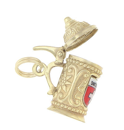 Enameled Switzerland Beer Stein Moveable Charm in 9 Karat Gold - Item: C562 - Image: 2