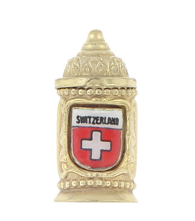 Enameled Switzerland Beer Stein Moveable Charm in 9 Karat Gold