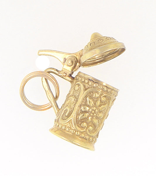 Vintage Moveable Beer Stein Charm in 14 Karat Yellow Gold - Item: C565 - Image: 1