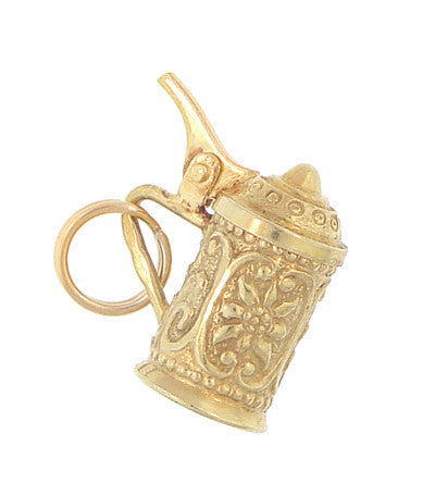 Vintage Moveable Beer Stein Charm in 14 Karat Yellow Gold