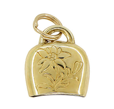 Movable Cow Bell Charm in 9 Karat Yellow Gold