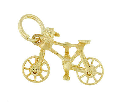 Antique Bicycle Charm with Movable Wheels in 14 Karat Yellow Gold