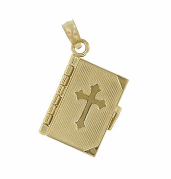 Moveable Lords Prayer Opening Book Charm in 14 Karat Gold