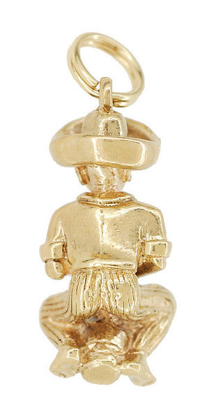 Back of Nassau Bahamas Charm - 9K Solid Yellow Gold - Goombay Drummer - Souvenir - C580
