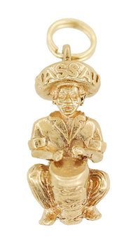 Vintage Bahamian Goombay Drummer Musician Charm in 9 Karat English Gold