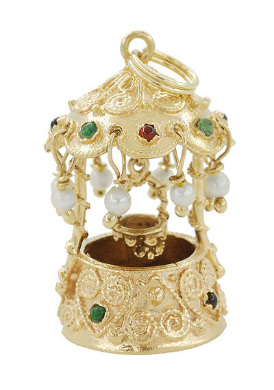 Movable Gem Set Wishing Well Pendant in 14 Karat Gold