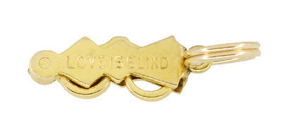 "Vintage ""Love is Blind"" Movable Folding Spectacles Charm in 14 Karat Yellow Gold - Item: C583 - Image: 1"