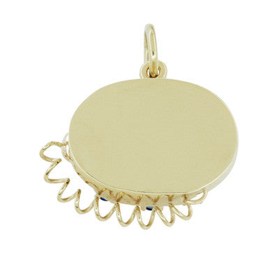Movable Gemstone Set Telephone Charm in 14 Karat Yellow Gold - Item: C596 - Image: 2