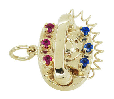 Movable Gemstone Set Telephone Charm in 14 Karat Yellow Gold - Item: C596 - Image: 1