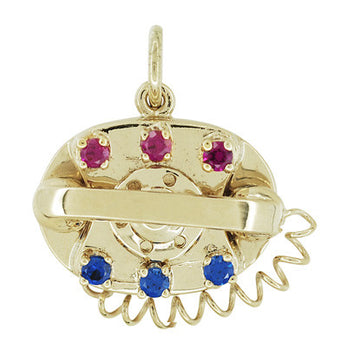 1960's Movable Gemstone Set Telephone Charm in 14 Karat Yellow Gold