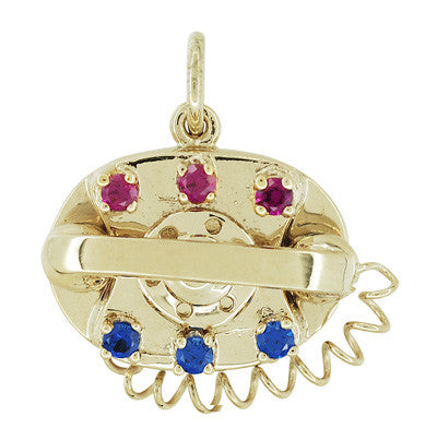 Movable Gemstone Set Telephone Charm in 14 Karat Yellow Gold