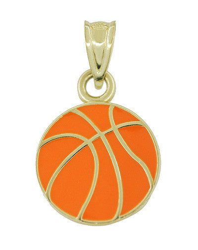 Vintage Enamel Basketball Charm in 10 Karat Yellow Gold
