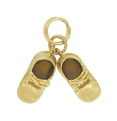 Vintage Baby Shoes Charm in 14K Yellow Gold