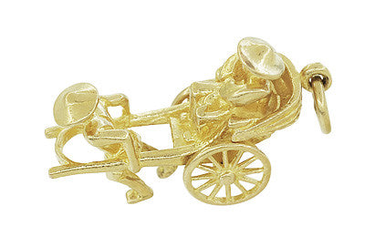 Vintage Rickshaw Charm with Movable Wheels in 18 Karat Gold - Item: C601 - Image: 1