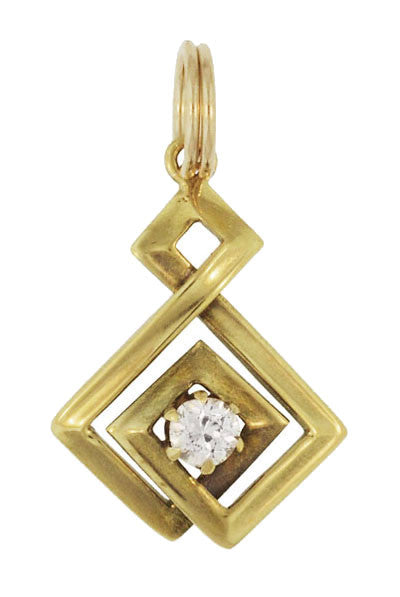 Geometric Vintage Old Mine Cut Diamond Pendant in 14 Karat Yellow Gold
