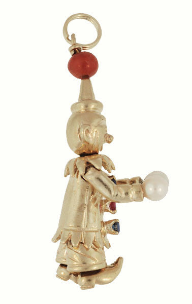 Moveable Vintage Happy Clown Pendant With Ruby, Sapphires, Coral and Pearls in 14 Karat Yellow Gold - Item: C604 - Image: 1