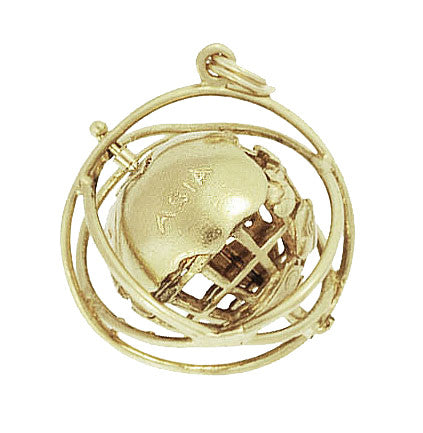 Moveable Vintage 1964 World's Fair Unisphere Globe Pendant Charm in 14 Karat Yellow Gold - Item: C608 - Image: 1
