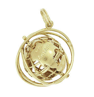 Moveable Vintage 1964 World's Fair Unisphere Globe Pendant Charm in 14 Karat Yellow Gold