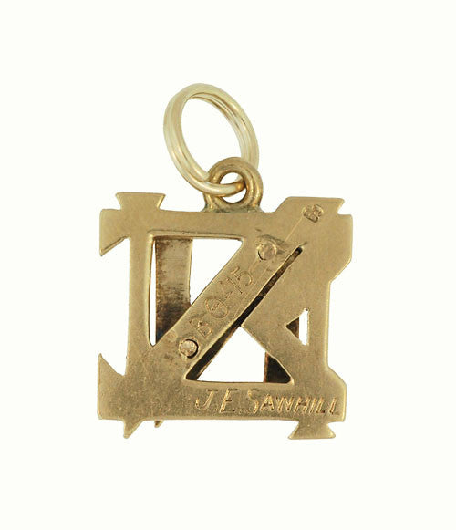 Antique Nu Sigma Nu Fraternity Charm in 14 Karat Yellow Gold - Item: C610 - Image: 1