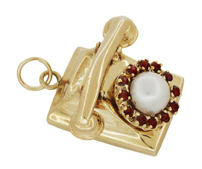 Moveable Vintage Telephone Pendant Charm in 14 Karat Yellow Gold With Pearl - Item: C614 - Image: 1