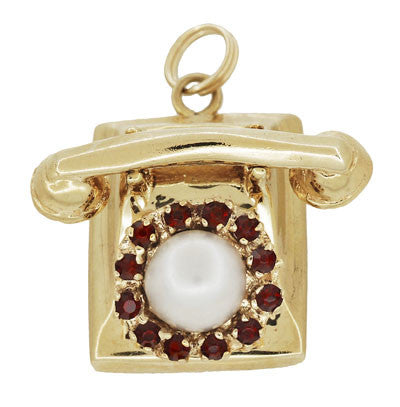 Moveable Vintage Telephone Pendant Charm in 14 Karat Yellow Gold With Pearl