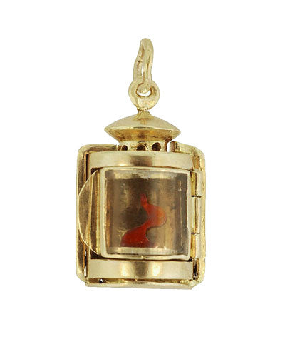 Moveable Vintage Lantern Charm in 18 Karat Yellow Gold - Item: C615 - Image: 1