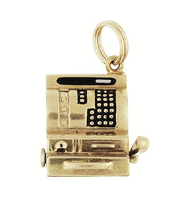 Moveable Vintage Cash Register Charm in 14 Karat Yellow Gold