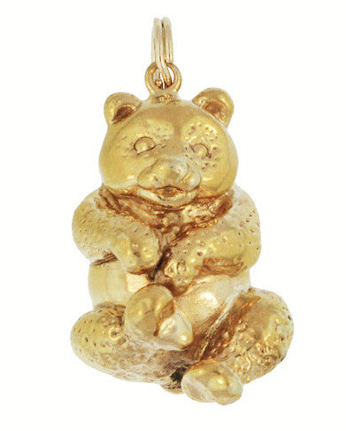 Vintage Happy Panda Bear Pendant Charm in 18 Karat Yellow Gold