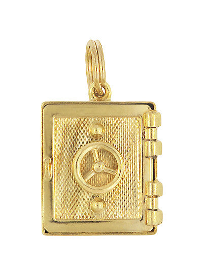 Vintage Safe Vault Moveable Charm in 14 Karat Yellow Gold