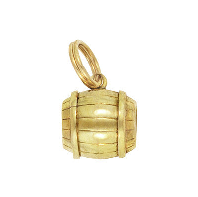 Vintage Small Barrel Charm in 14 Karat Yellow Gold