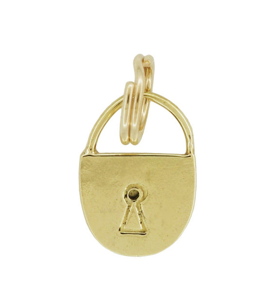 Vintage Small Lock Charm in 14 Karat Yellow Gold