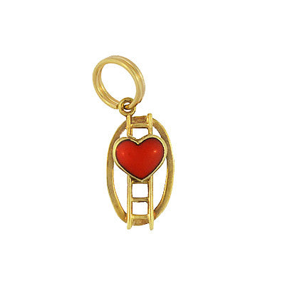 Vintage Ladder To The Heart Charm in 14 Karat Yellow Gold