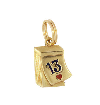 Lucky 13 in Love Vintage Charm in 14 Karat Yellow Gold