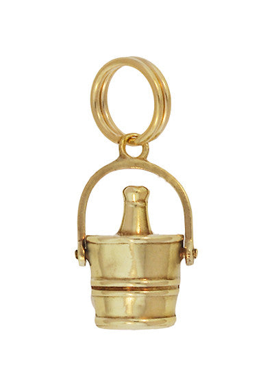 Vintage Moveable Champagne Bucket Charm in 14 Karat Yellow Gold