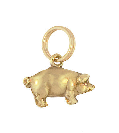 Small Pig Charm in 14 Karat Yellow Gold