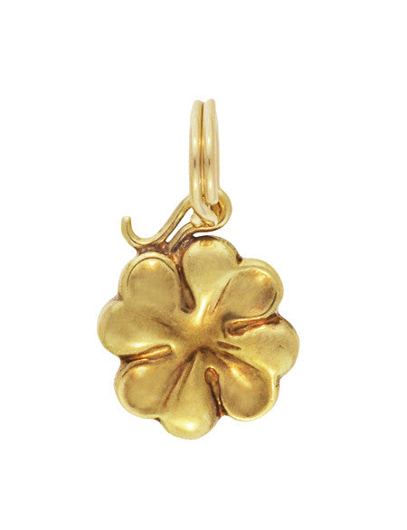 Small Lucky 4 Leaf Clover Charm in 14 Karat Yellow Gold