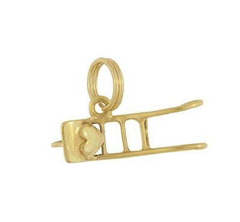 Vintage Heart in a Wheelbarrow Moveable Charm in 14 Karat Yellow Gold