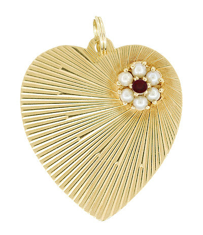 Vintage Gem Set Heart Pendant in 14 Karat Yellow Gold