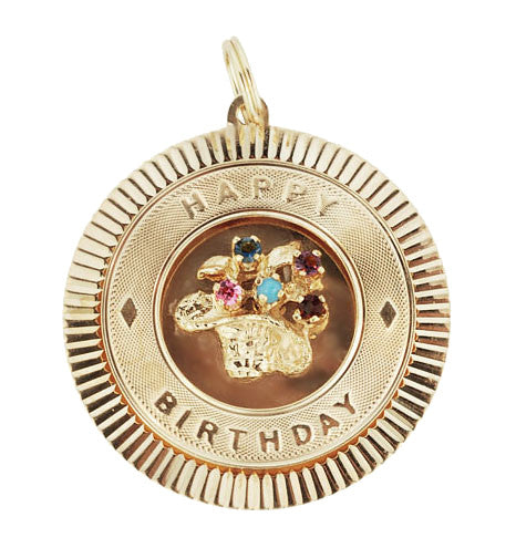 Vintage Happy Birthday Gem Set Circle Pendant in 14 Karat Yellow Gold