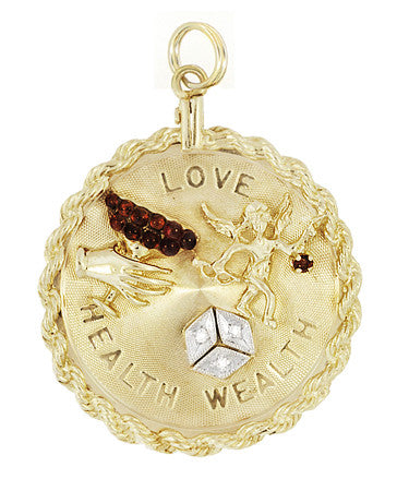 Vintage Love - Health - Wealth Medallion Pendant in 14 Karat Yellow Gold