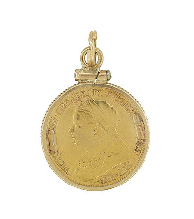 22 karat gold queen victoria british one half sovereign coin 22 karat gold queen victoria british one half sovereign coin pendant aloadofball Images