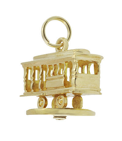 Moveable Vintage Tiffany and Co. Trolley Car Pendant Charm in 14 Karat Yellow Gold