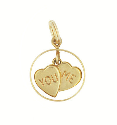 Vintage You and Me Moveable Sweet Hearts Charm in 14 Karat Yellow Gold - Item: C648 - Image: 1