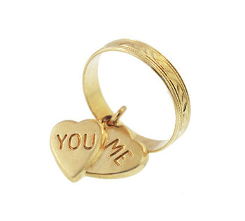 1950's Vintage You and Me Moveable Sweet Hearts Charm in 14 Karat Yellow Gold